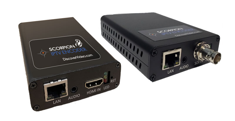Scorpion Live IPTV HD Streaming Encoder Appliances from DiscoverVideo with SDI or HDMI